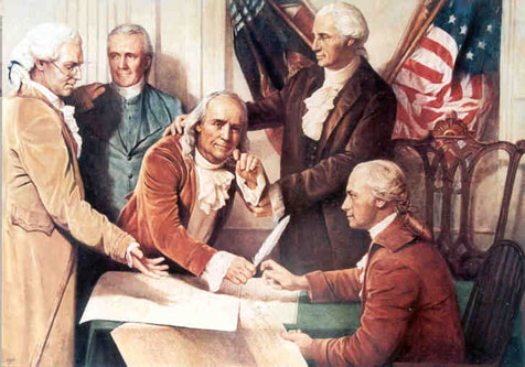 Benjamin Franklin Signs Declaration of Independence