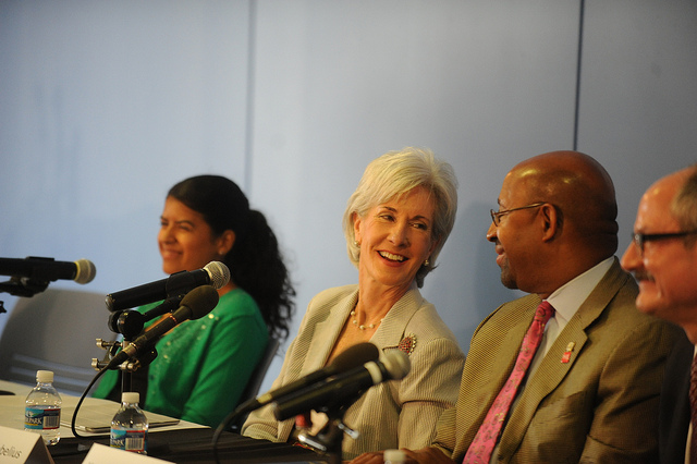 Secretary Kathleen Sebelius and Mayor Michael Nutter at an ACA event in Philadelphia last year
