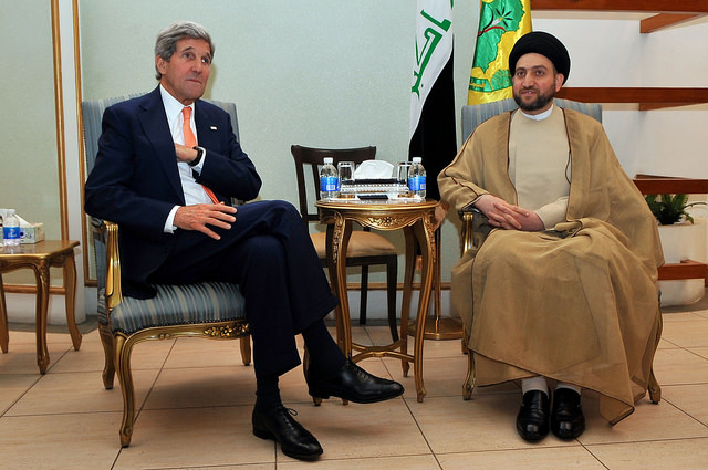 Secretary Kerry Sits With Islamic Supreme Council of Iraq Leader Hakim in Baghdad