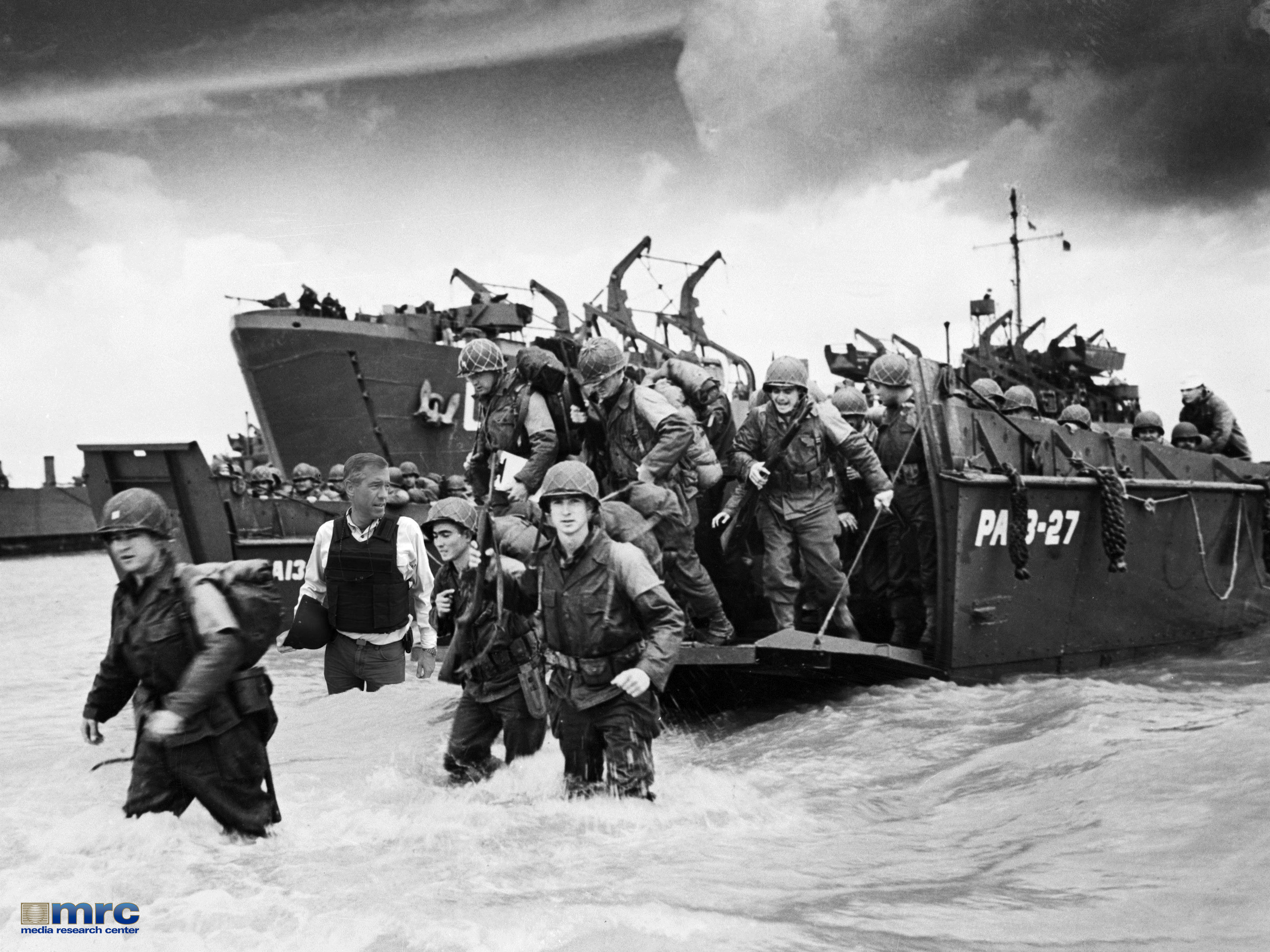American reinforcements, arrive on the beaches of Normandy from