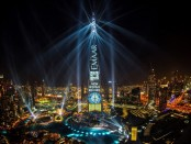 Emaar's 'Light Up 2018' spectacle clinches GUINNESS WORLD RECORDS title for the 'largest light and sound show on a single building' staged on Burj Khalifa (PRNewsfoto/Emaar Properties)